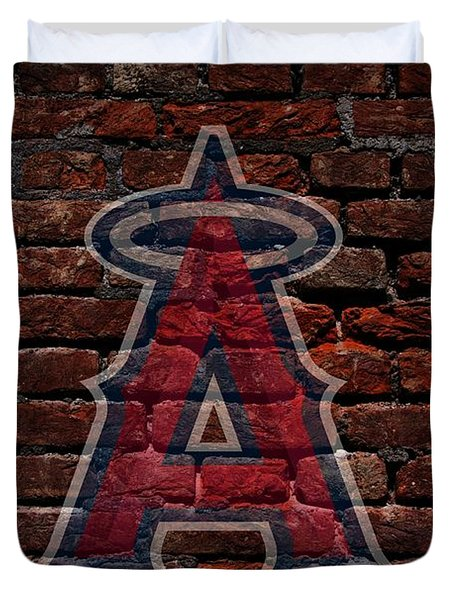 Angels Baseball Graffiti on Brick  Duvet Cover by Movie Poster Prints