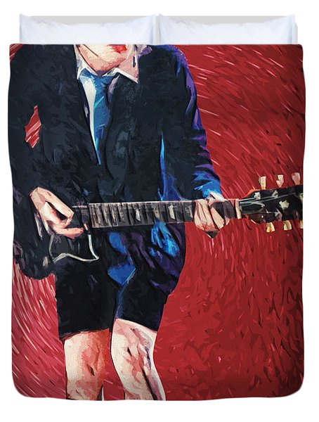 Angus Young Duvet Cover by Taylan Soyturk