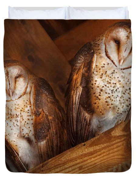 Animal - Bird - A Couple Of Barn Owls Duvet Cover by Mike Savad