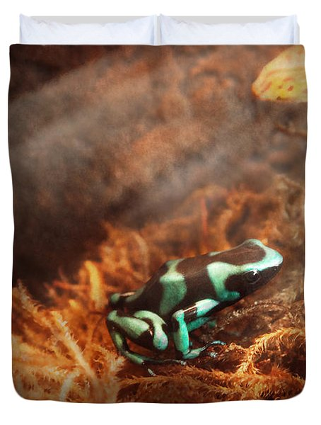Animal - Frog - Lick The Green Frog Duvet Cover by Mike Savad