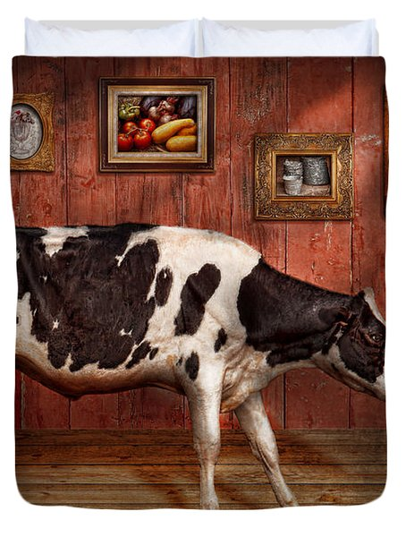 Animal - The Cow Duvet Cover by Mike Savad