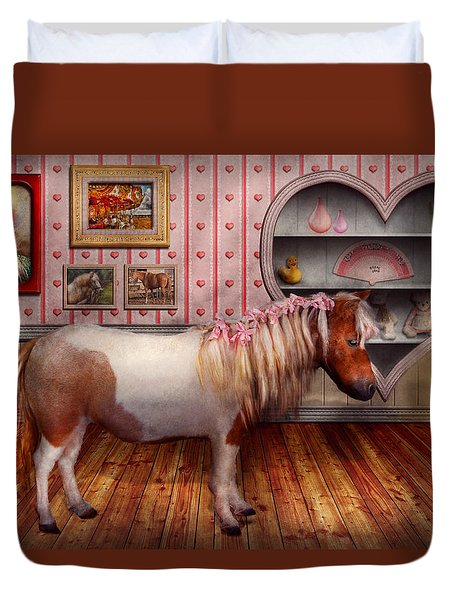 Animal - The Pony Duvet Cover by Mike Savad