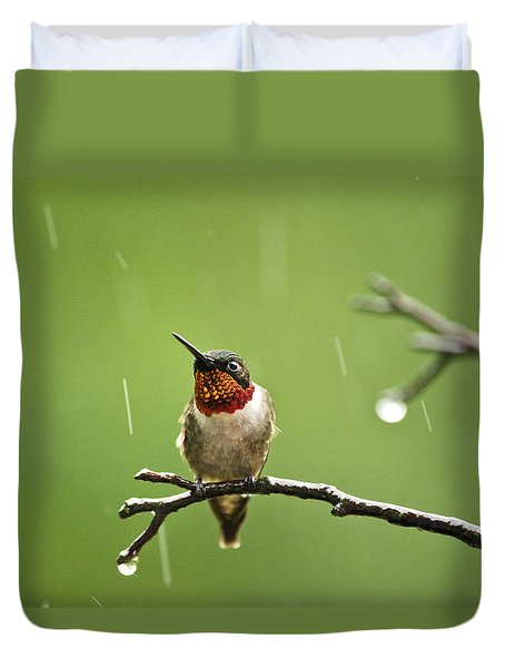 Another Rainy Day Hummingbird Duvet Cover by Christina Rollo