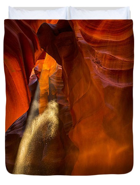 Antelope Canyon - Sand In The Light Duvet Cover by Angela A Stanton