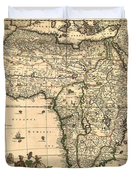 Antique Africa Map Duvet Cover by Gary Grayson