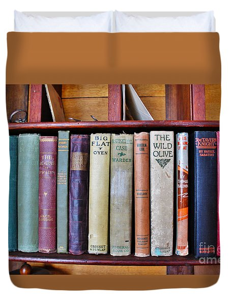 Antique Books On Shelf From 1860 Duvet Cover by Janice Rae Pariza