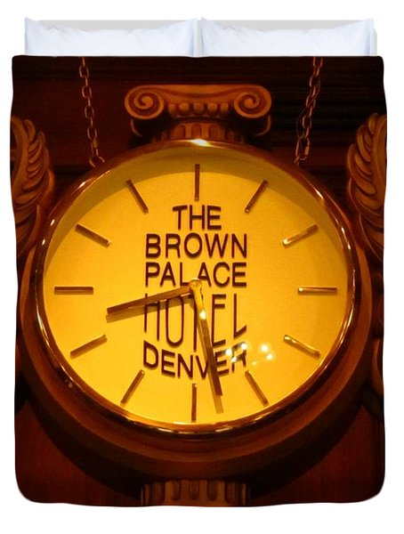 Antique Clock At The Bown Palace Hotel Duvet Cover by John Malone