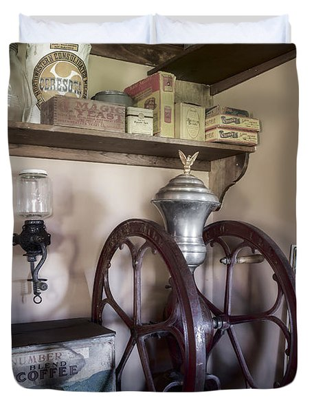 Antique Coffee Mill Duvet Cover by Susan Candelario