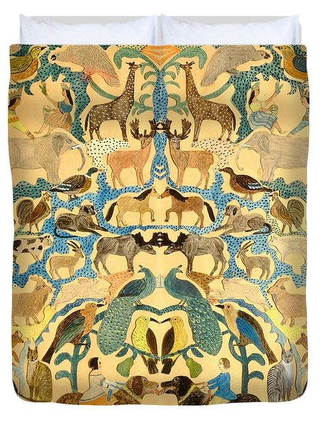 Antique Cutout Of Animals  Duvet Cover by American School