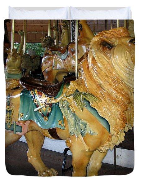 Antique Dentzel Menagerie Carousel Lion Duvet Cover by Rose Santuci-Sofranko