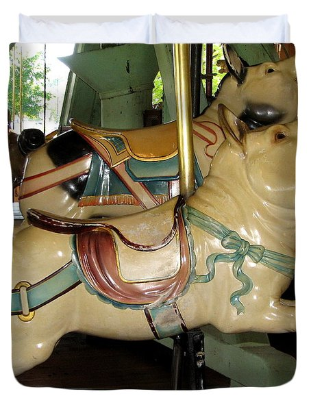Antique Dentzel Menagerie Carousel Pigs Duvet Cover by Rose Santuci-Sofranko