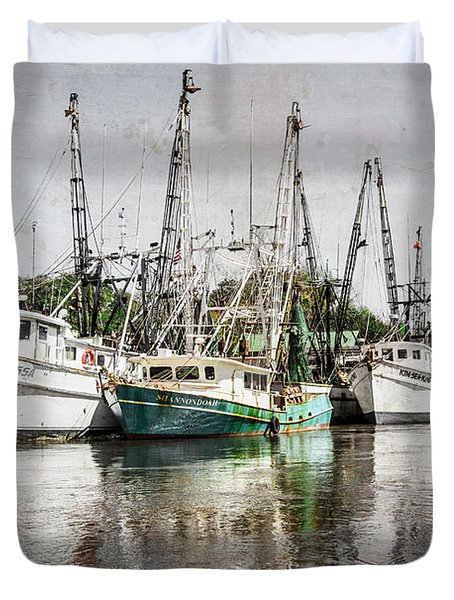 Antique Fishing Boats Duvet Cover by Debra and Dave Vanderlaan