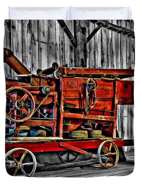 Antique Hay Baler Selective Color Duvet Cover by Steve Harrington