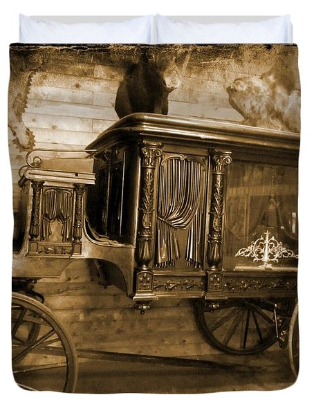 Antique Hearse as Tintype Duvet Cover by Crystal Loppie