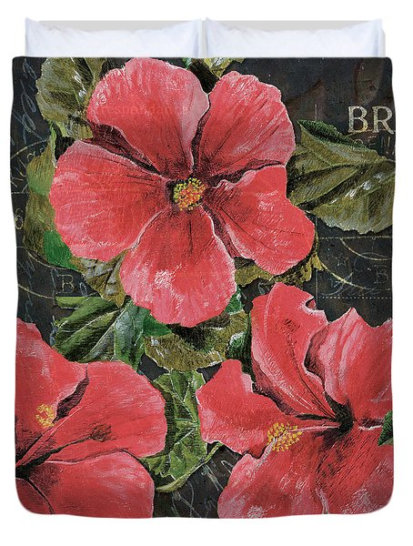Antique Hibiscus Black 3 Duvet Cover by Debbie DeWitt