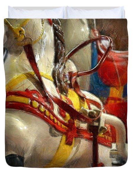 Antique Horse Cart Duvet Cover by Michelle Calkins