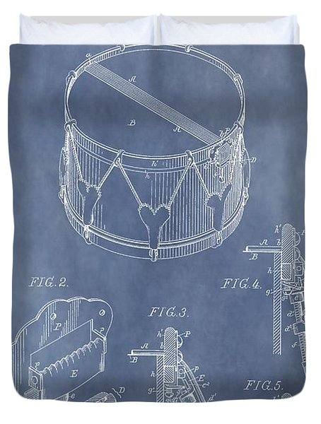 Antique Snare Drum Patent Duvet Cover by Dan Sproul