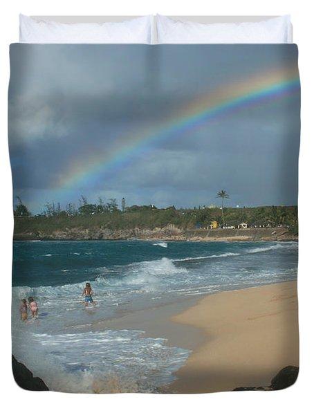 Anuenue - Aloha Mai E Hookipa Beach Maui Hawaii Duvet Cover by Sharon Mau