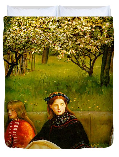 Apple Blossoms Duvet Cover by John Everette Millais