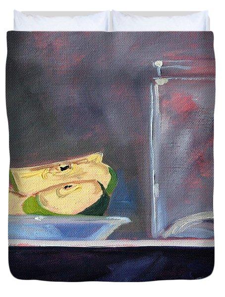Apple Snack Duvet Cover by Nancy Merkle