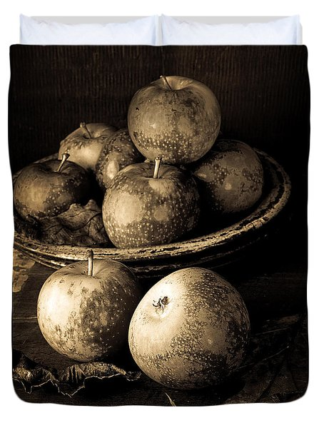 Apple Still Life Black And White Duvet Cover by Edward Fielding