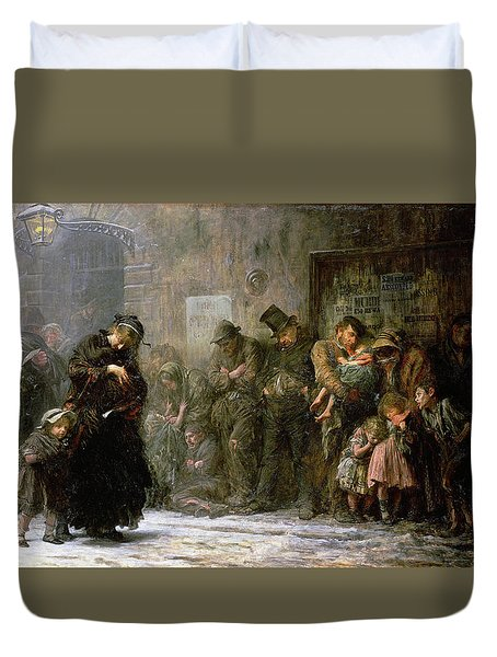 Applicants For Admission To A Casual Duvet Cover by Sir Samuel Luke Fildes