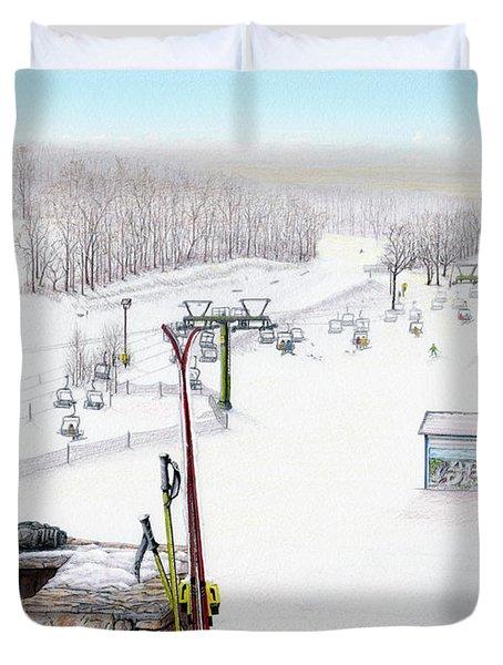 Apres-Ski at Hidden Valley Duvet Cover by Albert Puskaric