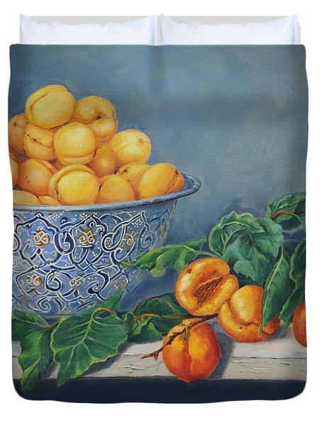 Apricots And Peaches Duvet Cover by Enzie Shahmiri