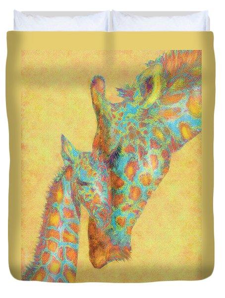 Aqua And Orange Giraffes Duvet Cover by Jane Schnetlage