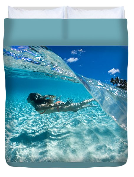 Aqua Dive Duvet Cover by Sean Davey