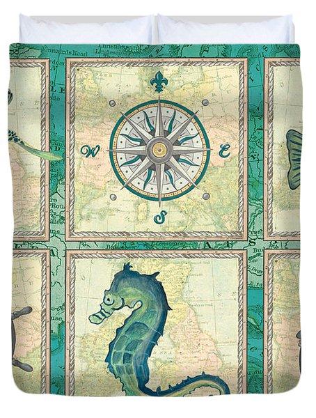 Aqua Maritime Patch Duvet Cover by Debbie DeWitt