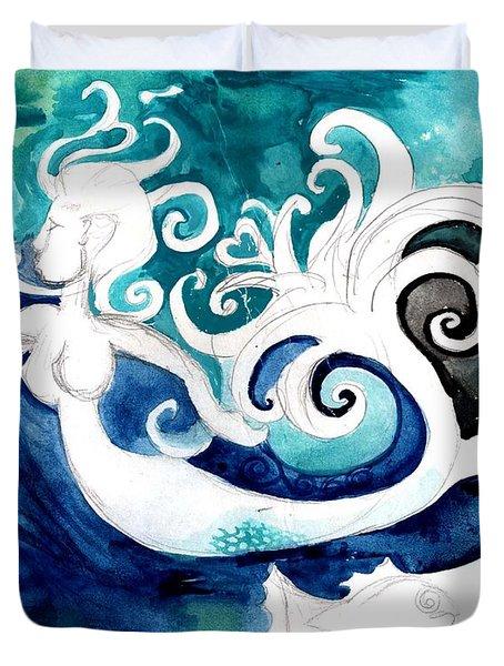 Aqua Mermaid Duvet Cover by Genevieve Esson