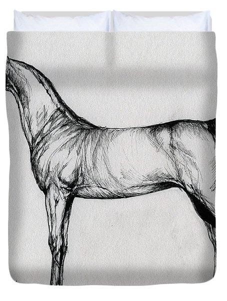 Arabian Horse Drawing 34 Duvet Cover by Angel  Tarantella