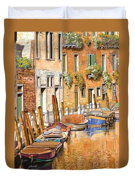 Arancio Sul Canale Duvet Cover by Guido Borelli