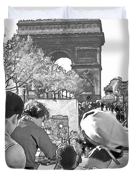 Arc de Triomphe Painter - B W Duvet Cover by Chuck Staley