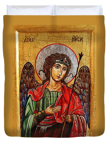 Archangel Michael Icon Duvet Cover by Ryszard Sleczka