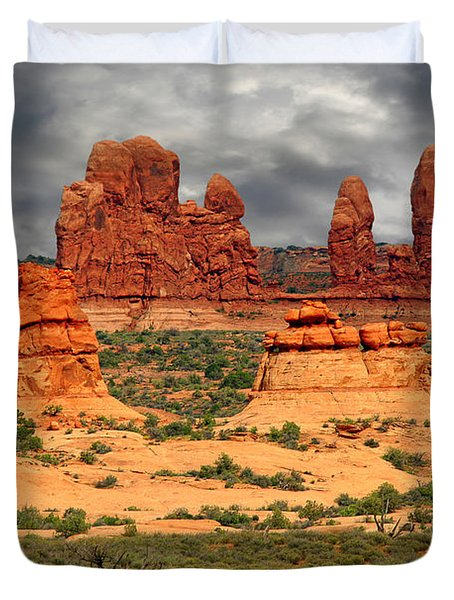 Arches National Park - A Picturesque Drama Duvet Cover by Christine Till