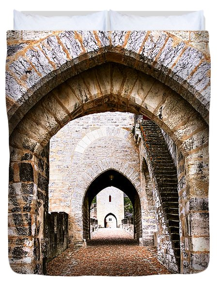 Arches of Valentre bridge in Cahors France Duvet Cover by Elena Elisseeva
