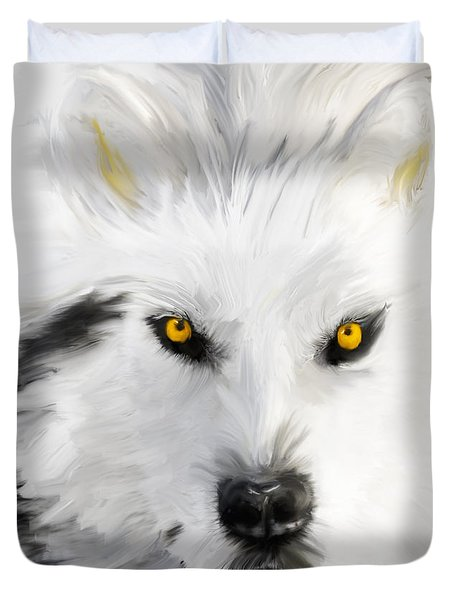 Arctic Wolf With Yellow Eyes Duvet Cover by Angela A Stanton