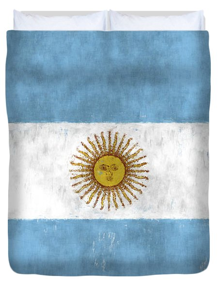 Argentina Flag Duvet Cover by World Art Prints And Designs
