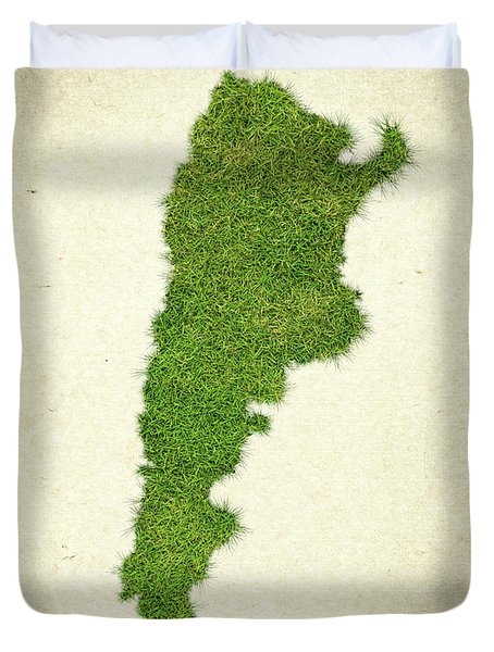 Argentina Grass Map Duvet Cover by Aged Pixel