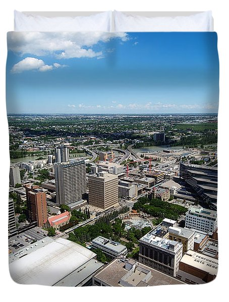 Arial View Of Calgary Facing North East Duvet Cover by Lisa Knechtel