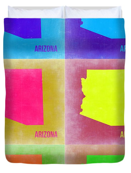 Arizona Pop Art Map 4 Duvet Cover by Naxart Studio