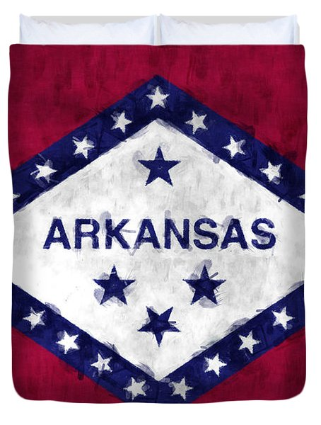 Arkansas Flag Duvet Cover by World Art Prints And Designs