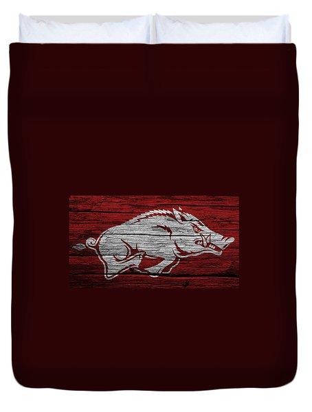 Arkansas Razorbacks On Wood Duvet Cover by Dan Sproul