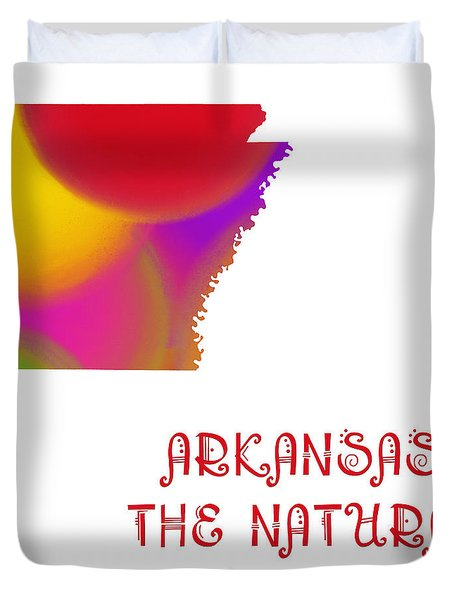 Arkansas State Map Collection 2 Duvet Cover by Andee Design
