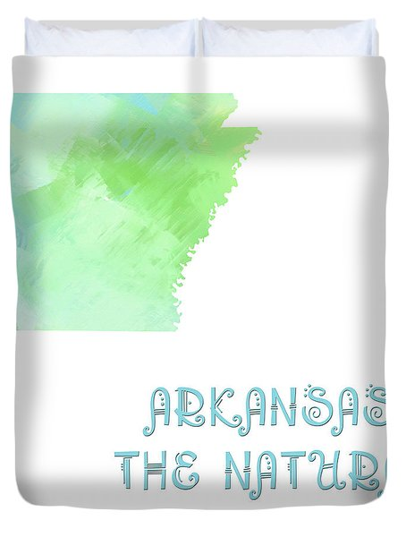 Arkansas - The Natural State - Map - State Phrase - Geology Duvet Cover by Andee Design