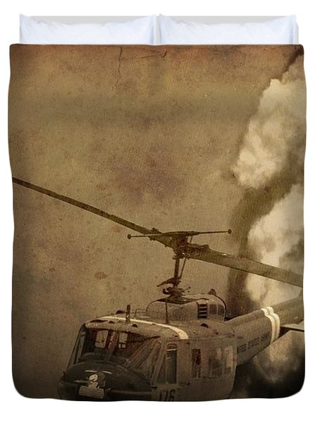 Army Helicopter Explosion Duvet Cover by Dan Sproul