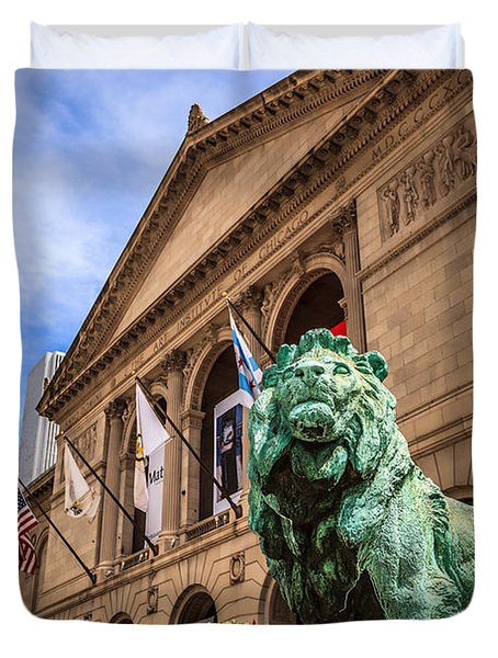 Art Institute of Chicago Lion Statue Duvet Cover by Paul Velgos