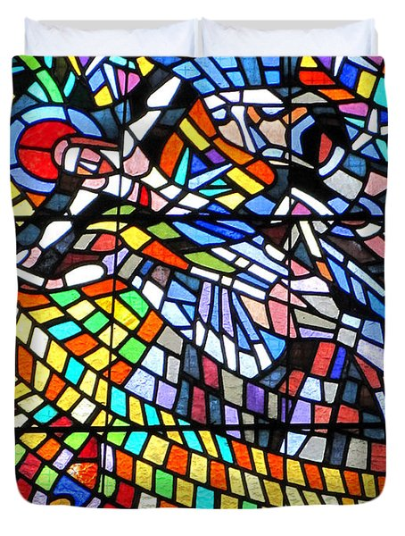 Art Nouveau Stained Glass Windows Ss Vitus Cathedral Prague Duvet Cover by Christine Till